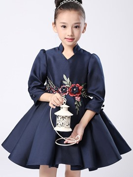 Ericdress Floral Embroidery Back Bow Girls Dress