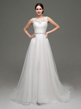 Ericdress Classic Scoop Appliques Beaded A Line Wedding Dress