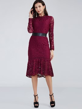 Ericdress Patchwork Round Neck Mermaid Lace Dress