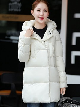 Ericdress Solid Color Straight Hooded Cotton Coat