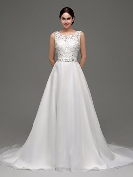 Ericdress Classic Scoop Beaded Lace A Line Wedding Dress