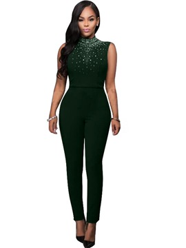 Ericdress Sleeveless Dark Green Tight Women's Jumpsuits