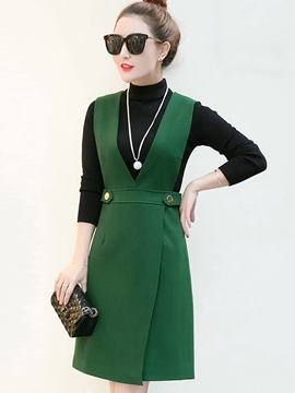Ericdress Stand Collar Sweater Asymmetric Suspenders Dress Suit