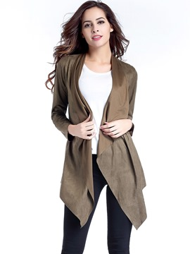 Ericdress Solid Color Cardigan Trench Coat