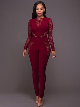 Ericdress Long Sleeve Red Perspective Women's Jumpsuits