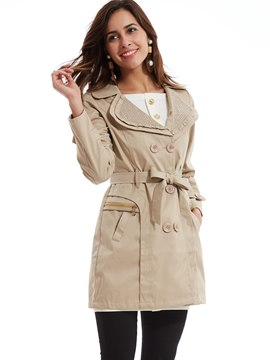 Ericdress Plain Lapel Double-Breasted Trench Slim Coat