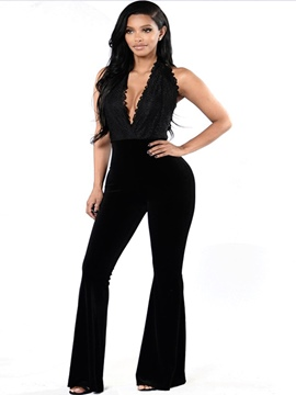 Ericdress Backless Suspenders Lace Slim Jumpsuits Pants