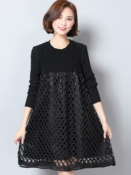 Ericdress Hollow Knitting Patchwork Pleated Casual Dress