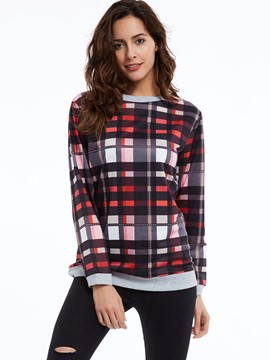 Ericdress Color Block Round Neck Plaid T-shirt