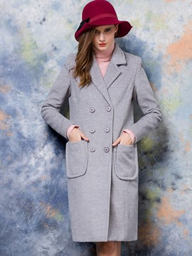Ericdress Slim Double-Breasted Pocket Solid Color Coat