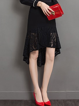 Ericdress Asymmetric Lace Hollow Pleated Usual Skirt