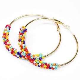 Ericdress Alloy E-Plating Beading Hoop Earrings