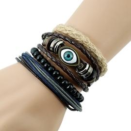 Ericdress Blue Eye Design Multilayer Woven Bracelet