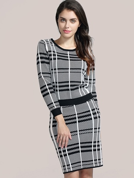 Ericdress Stripe Print Scoop Knee Length Bodycon Suit