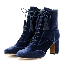 Ericdress Velvet Royal Blue Chunky Heel Fashion Booties