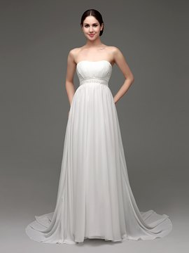 Ericdress Classic Strapless Beaded A Line Chiffon Beach Wedding Dress
