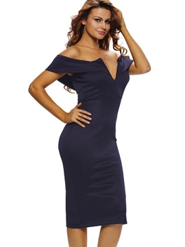 Ericdress V-Neck Off-the-Shoulder Plain Bodycon Dress