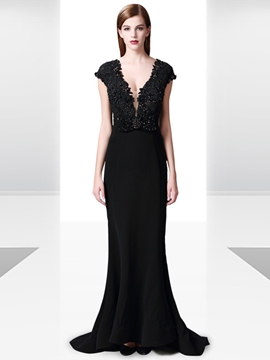 Ericdress Cap Sleeve Deep Neck Lace Applique Beaded Evening Dress