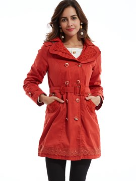 Ericdress Plain Double-Breasted Hooded Trench Coat
