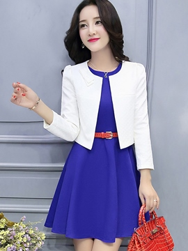 Ericdress Wrapped Jacket Pleated Dress Suit