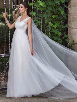 Ericdress Charming V Neck Empire A Line Wedding Dress