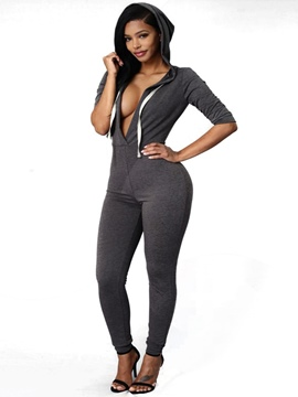 Ericdress V-Neck Skinny Jumpsuits Pants