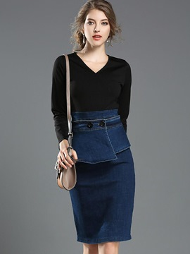 Ericdress Denim Falbala Patchwork Button V-Neck Bodycon Dress