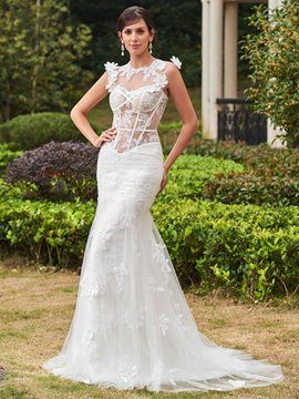 Ericdress Sexy Jewel Appliques Mermaid Wedding Dress