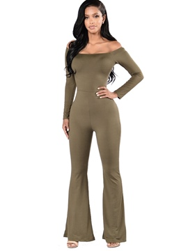 Ericdress Strapless Slim Bellbottoms Jumpsuits Pants