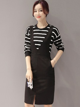 Ericdress Stripe Long Sleeve T-Shirt Suspenders Pocket Dress Suit