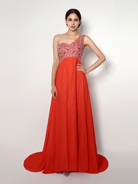 Ericdress A Line One Shoulder Beaded Chiffon Long Evening Dress