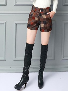 Ericdress Plaid Thick Patchwork Shorts