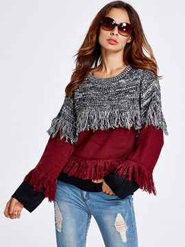 Ericdress Color Block Tassel Trim Knitwear