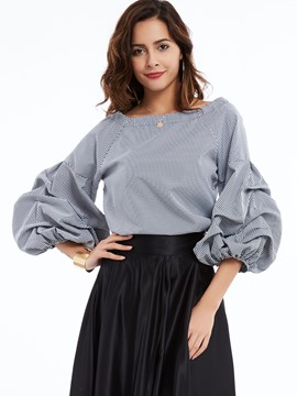 Ericdress Gray Slash Neck Puff Sleeves Blouse