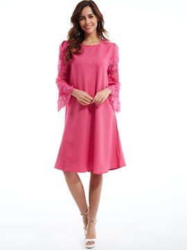 Ericdress Lace Patchwork Flare Sleeves Casual Dress