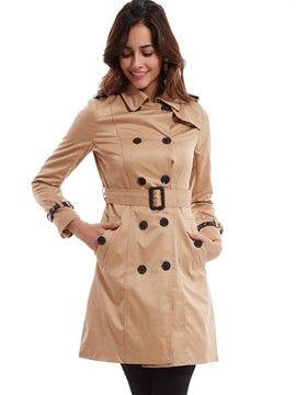 Ericdress Plain Lapel Double-Breasted Slim Trench Coat