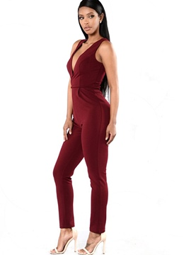 Ericdress Backless Suspenders Lace-Up Skinny Jumpsuits Pants