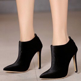 Ericdress Fashion Velvet Point Toe High Heel Boots