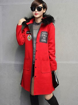 Ericdress Straight Color Block Single-Breasted Coat