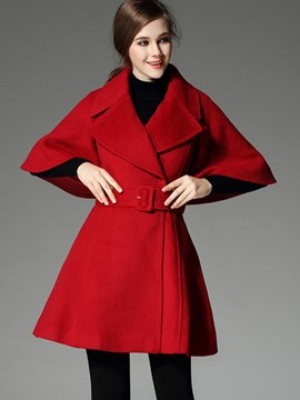 Ericdress Slim Solid Color Batwing Coat