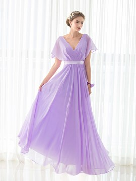 Ericdress V Neck Short Sleeves A Line Long Bridesmaid Dress