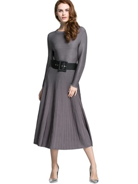 Ericdress Knitting Plain Round Neck Sweater Dress