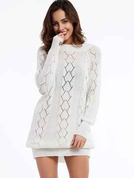 Ericdress White Round Neck Hollow Knitwear