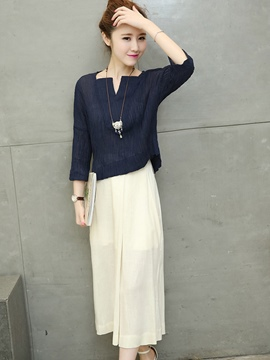 Ericdress Square Neck Wide Legs Pants Suit