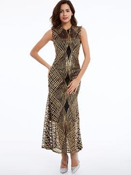 Ericdress Round Neck Sleeveless Sequins Mesh Maxi Dress