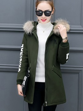 Ericdress Casual Letters Printed Coat
