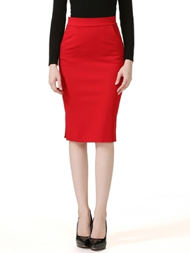 Ericdress Solid Color Patchwork Pocket Column Skirt