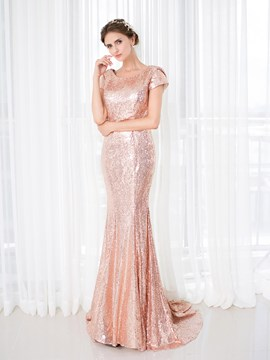 Ericdress Cap Sleeve Sequin Deep Back Mermaid Evening Dress