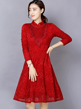 Ericdress Stand Collar Tassel Patchwork Pleated Lace Dress