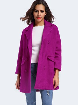 Ericdress Solid Color Double-Breasted Straight Polo Coat